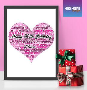 CUORE-personalizzata-Word-Art-Print-Perfetto-Compleanno-bomboniera-regalo-A4-A3