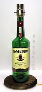 JAMESON IRISH WHISKEY Liquor Bottle TABLE LAMP Light Wood Base Bar Lounge Decor