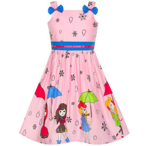 US STOCK Girls Dress Cartoon Polka Dot Bow Tie Strawberry Sundress Size 2-8