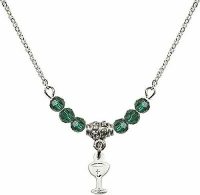 18-Inch Rhodium Plated Necklace with 6mm Faux-Pearl Beads and Sterling Silver Madonna Charm.