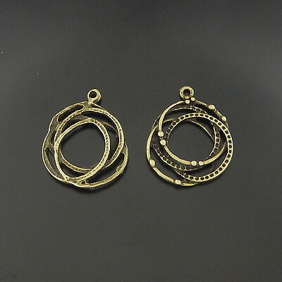 02515 Antique Style Bronze Tone Alloy Multiple Ring Charm Pendant Decor 20pcs