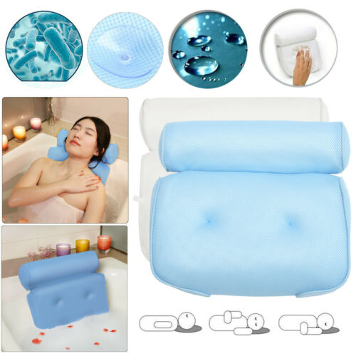 3D Soft Bath Tub Pillow Comfort Neck /& Back Open Air Fiber Spa Foam Fill Relax