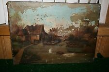 Antique oil on canvas landscape cottage mill painting unsigned for restoration
