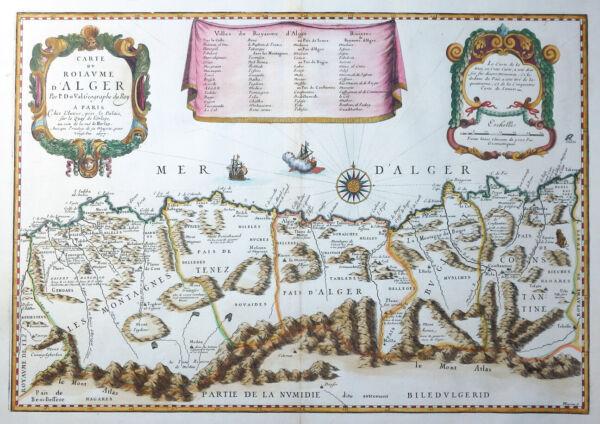 Afrika Algerien Carte Du Roiaume D´alger Du Val Paris Koloriert Schiffe 1677 Schrumpffrei