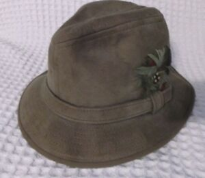 Vintage-1970s-Globe-Master-Brown-Leather-Suede-Fedora-Safari-Hat-Mens-Small-S
