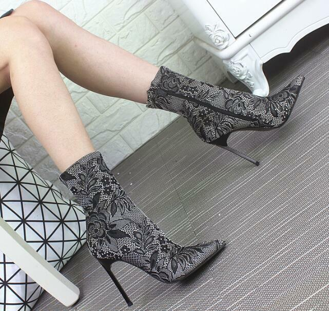 Women's Mid-Calf Boots High Stiletto High High High Heel shoes Pointed Toe Multi color b34008