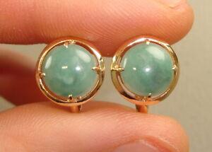 14K Yellow Gold & Green Jadeite Jade Ladies Earrings, 3.98 grams