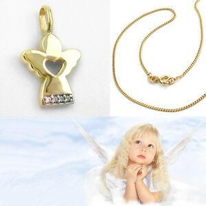 Kinder-Set Kreuz mit Engel Anhänger Echt Gold 333 mit Kette Silber 925 vergoldet
