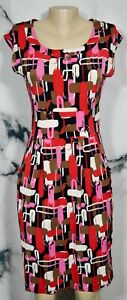 CHADWICK'S COLLECTION Red Pink Olive Black Beige Patterned Dress 4 Front Pockets