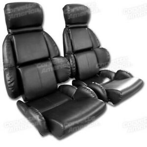 89-92-Corvette-C4-MOUNTED-Seat-Upholstery-Covers-BLACK-VINYL-with-FOAM-SET-NEW
