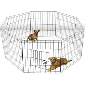 Tall-Wire-Fence-Pet-Dog-Cat-Folding-Exercise-Yard-8-Panel-Metal-Play-Pen