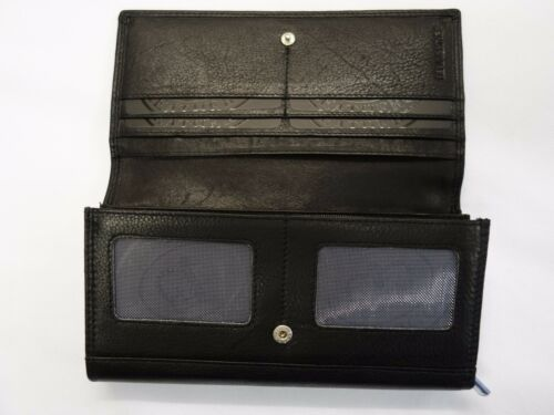 Ladies Leather Purse Wallet Organiser Extra Large Black Double Sided Brand RFID