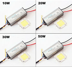 LED-CHIP-DRIVER-POWER-10W-20W-30W-50W-100W-Bianco-Alta-Luminosita-impermeabile