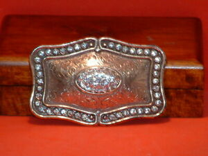Pre-Owned-Fancy-Big-Rhinestone-Belt-Buckle