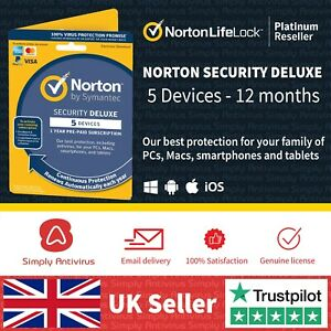 Norton Security DELUXE 5 Devices 1 Year 2021 Antivirus  *5 Min Delivery by Email