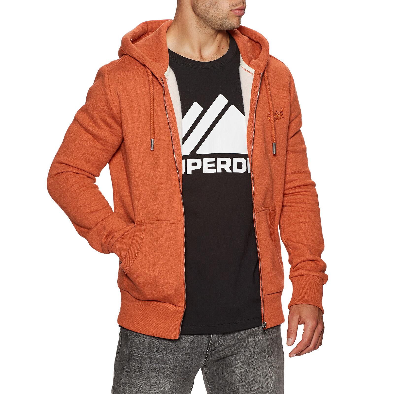 Superdry Ol Classic Mens Hoody Zip - Rust Orange Marl All Sizes