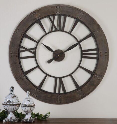 """Méditerranéenne 40/"""" foncé rustique Ronde Horloge Murale Chiffres Romains Rust Gray Frame"""