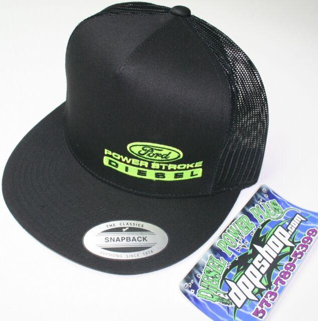 9ef22033270 ford powerstroke trucker Flat bill ball cap hat snap back mesh summer  diesel new