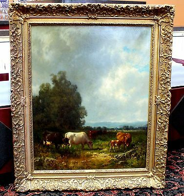 Antique Painting Oil on Canvas Artist WILLIAM HART Original SIGNED Wm Hart 1883