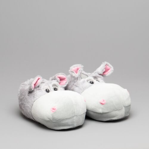 House of Slippers HIPPO Womens Ladies Animal themed Novelty Full Slippers Grey