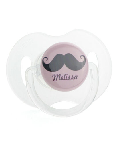 Personalized Name Pink Mustache Baby Pacifier