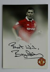 Bryan-Robson-Signed-6x4-Photo-Card-Manchester-United-England-Autograph-COA