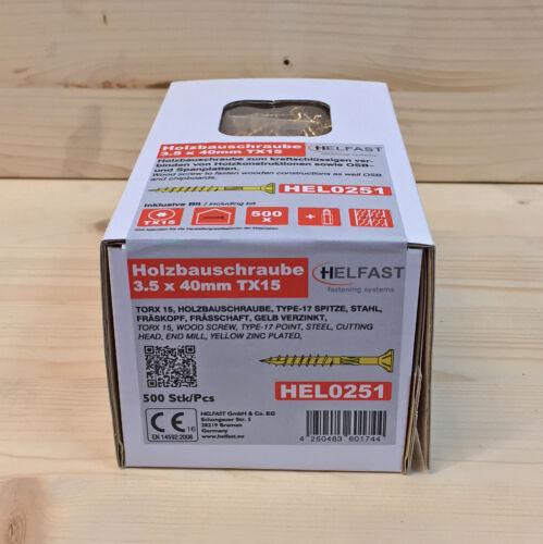 Holzbauschrauben 3,5mm Torx15 gratis Bit Frässchaft Senkkopf gelb verzinkt