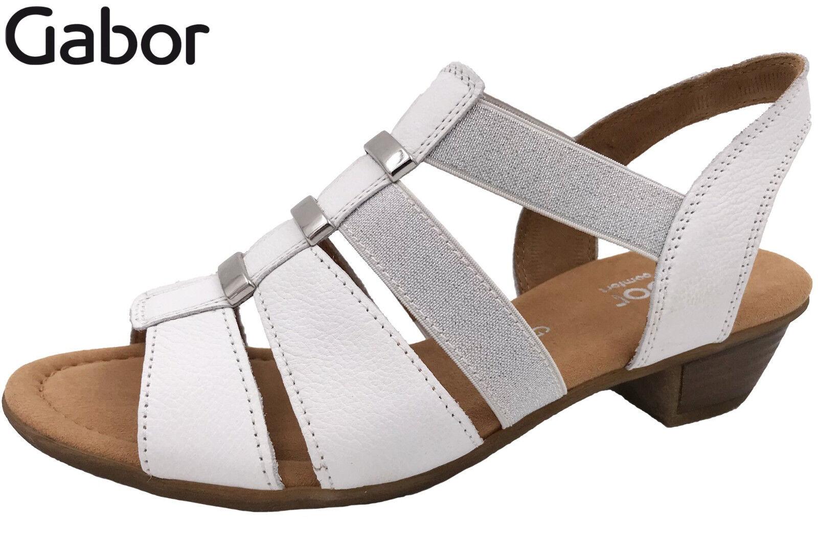 Gabor Damen Sandalette Weiß Leder Sandale Weite G NEU 82472-50