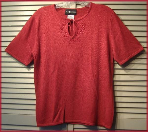 "SAG HARBOR Shiny Red Embroidered Keyhole Knit Top (L) 40"" bust Acrylic Blend"