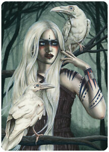 Gothic-Fantasy-Art-ACEO-PRINT-White-Ravens-Birds-Shaman-Trees-Forest-Teal