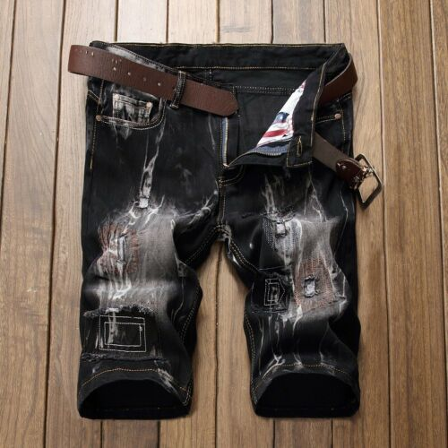 Summer Men Denim Shorts Distressed Ripped Patched Jeans Slim Fit Casual Shorts