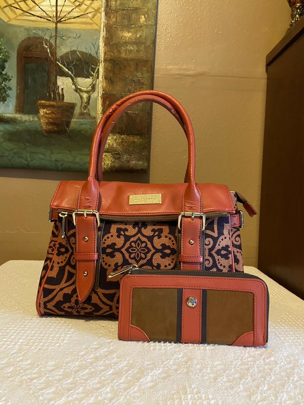 Spartina Natural Linen Genuine Leather Matching Bag And Wallet