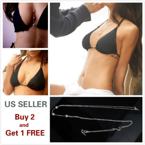 Body Chains Full Metal Chest Breast Bikini Bra chain Style B Gold Pearl