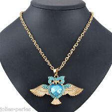 New Fashion DIY Gold Diamante Owl Pendant Necklace For Women