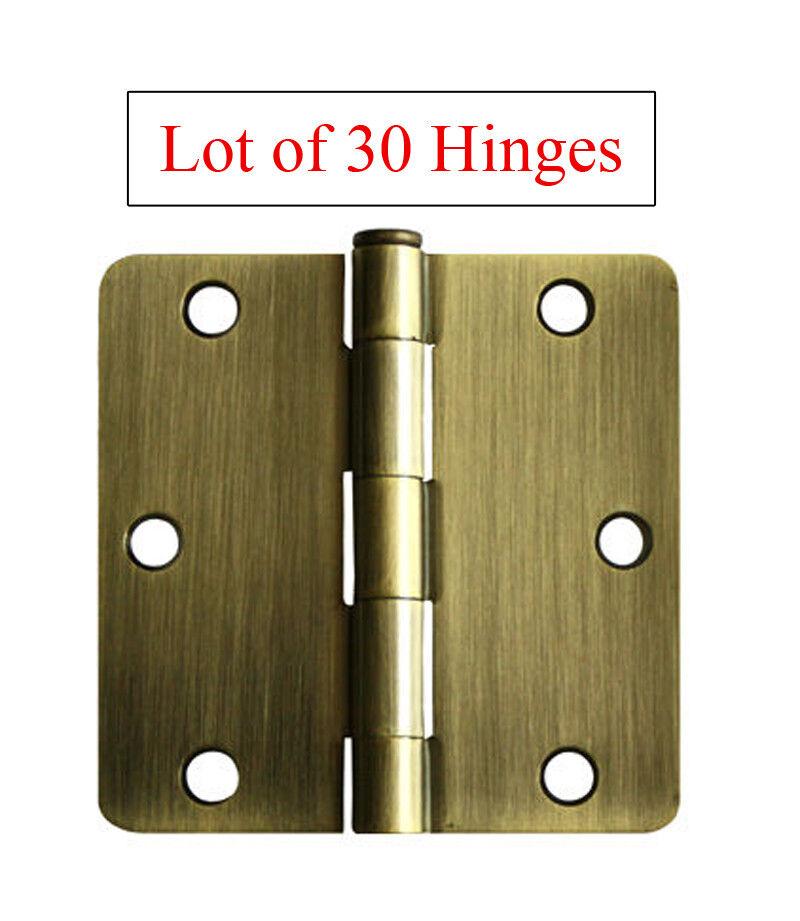 30 Antique Brass 3.5  X 3.5  w 1 4 quarter Radius Door Hinges free shipping