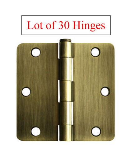 """30 Antique Brass 3.5/"""" X 3.5/"""" w 1//4 quarter Radius Door Hinges free shipping"""