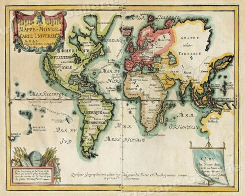 1705 Map of the World Historic Vintage Style Wall Map 24x30