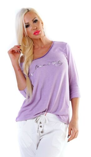 violett Figurbetontes Shirt mit modischen Schrift-Print