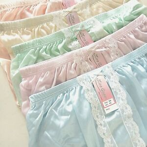 129a96080 5 Nylon Size LL Lace Soft Briefs HI-Cut Vintage Style Women Pantie ...