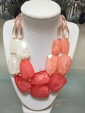 NWOT Beaded Peach Cream Pink Statement Necklace Anthropologie