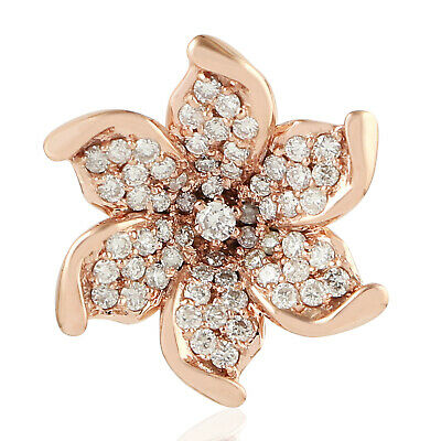 18k Solid Rose Gold 0.35Ct Diamond Peace Sign Charm Pendant Fashion Jewelry