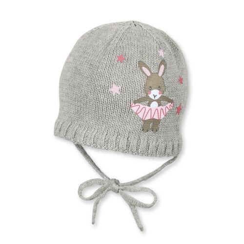 Sterntaler Baby Winter-Strickmütze für Mädchen zum Binden mit Häschenaufdruck
