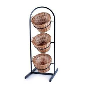 Details About 3 Tier Wicker Basket Metal Stand Fruit Vegetables Crisps Wine Sp298