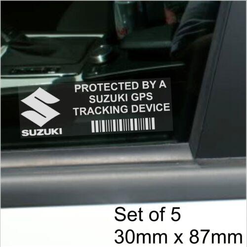 5 x Suzuki GPS Tracking Device Security BLACK Stickers-Car Alarm Tracker,Notice