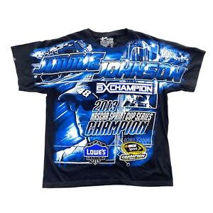 NASCAR JIMMIE JOHNSON ALL OVER PRINT DOUBLE SIDED Chase T-Shirt Size Large Black