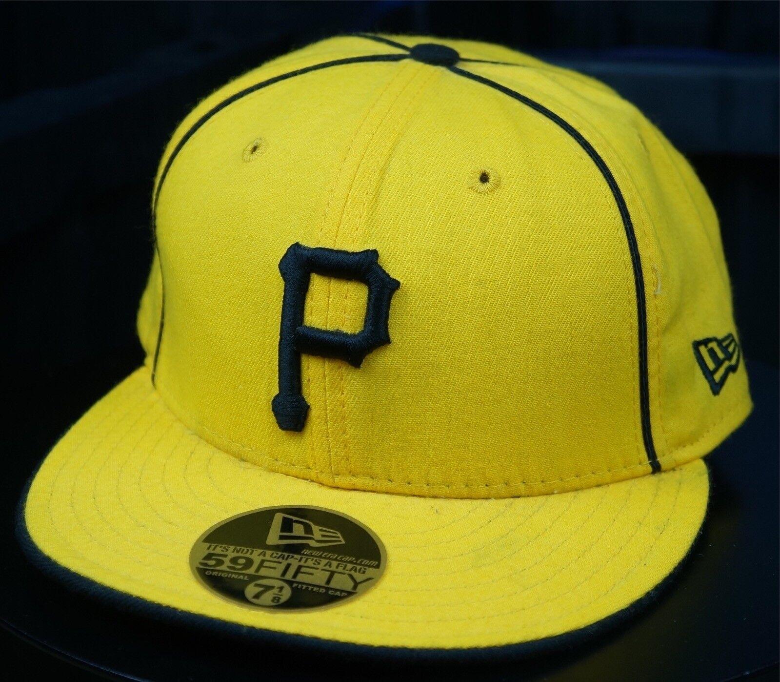Rare Vintage MLB NEW ERA Pittsburgh Pirates MLB Vintage Fitted Hat Cap 90s Yellow SZ 7 1/8 0546ff