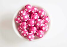 Hot Pink Polka Dot 20mm Chunky Acrylic Beads 10 ct for Bubblegum Necklace