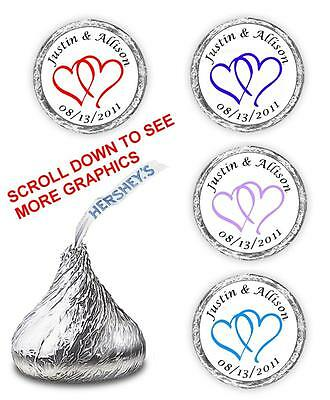 108 WEDDING KISSES FAVORS DOUBLE LINKED HEARTS HERSHEY PARTY SUPPLIES STICKERS