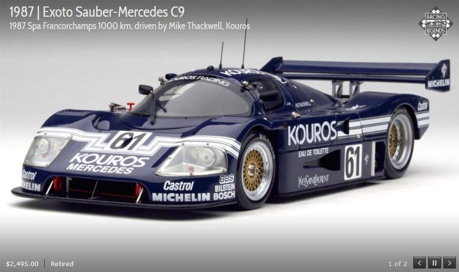 Exoto 87 Sauber-Mercedes C-9 61 Spa sexta 1000km 1:18 Nuevo en Caja RLG18192