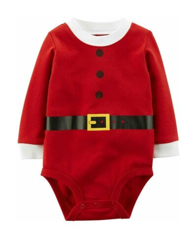 Carter/'s Baby Boy or Girl Christmas Santa Suit Bodysuit Long Sleeve Red Outfit